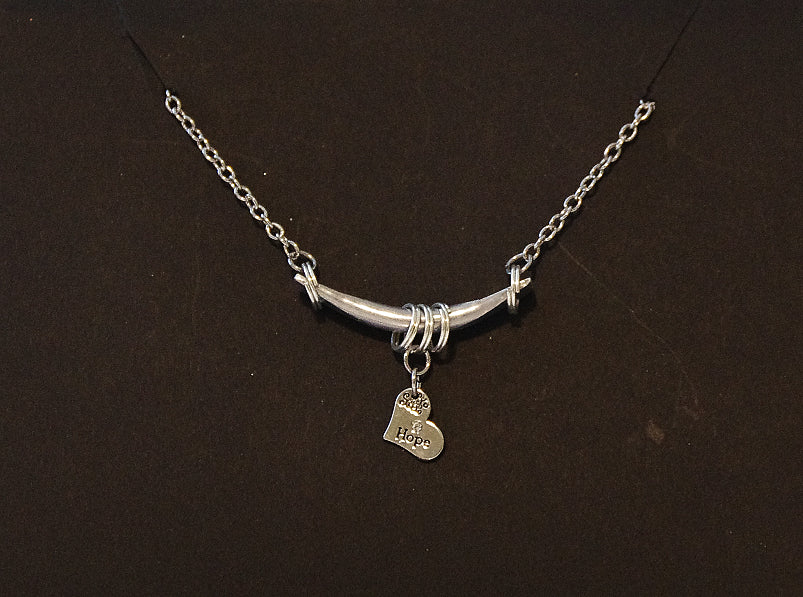 Bar & Charm Necklace - Hope (Heart)
