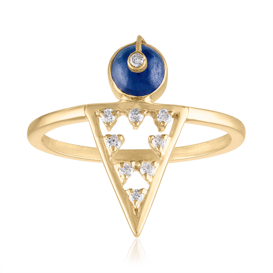 Moderne Geometric Shape Ring with Sapphire & Diamonds by LORIANN Jewelry