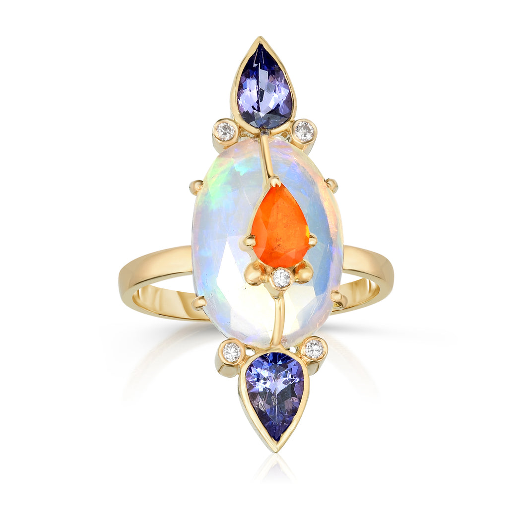 Organique Opal Ring with Sapphire & Tanzanite by LORIANN Jewelry