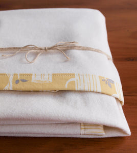 Organic Blanket Organic Cotton Bound Edge Blanket in Yellow Tree Stripes - Happy Poppets