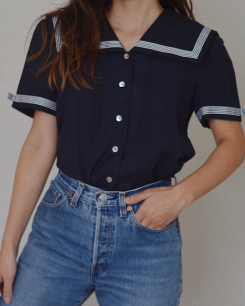 Vintage Linen Sailor Top