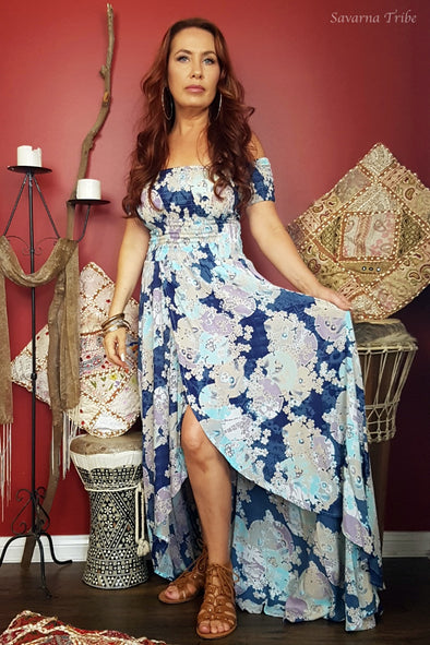 Carmen Dress - Blue Blossom Song Print
