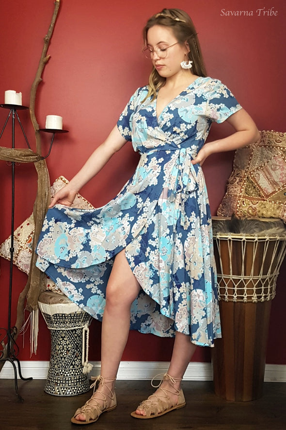 Short Wrap Dress - Blue Blossom Song Print Cap Sleeves