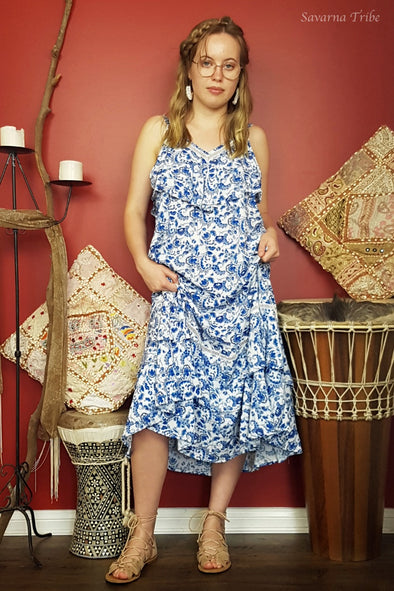 Laura Dress - Blue Ressort girl Print