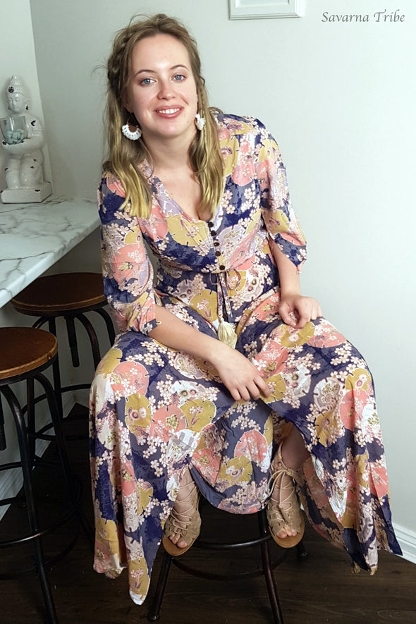 Purple Blossom Song Button Down Gown - 3/4 Sleeves