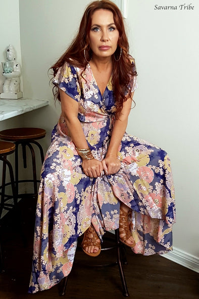 Long Wrap Dress - Purple Blossom Song Print With Cap Sleeves