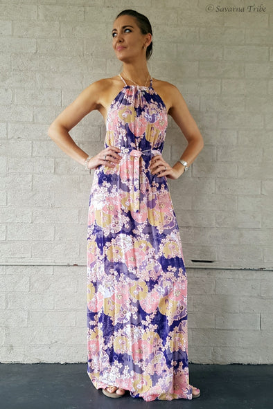 Vicki Maxi Dress - Purple Blossom Song Print With Removable Waist Tie