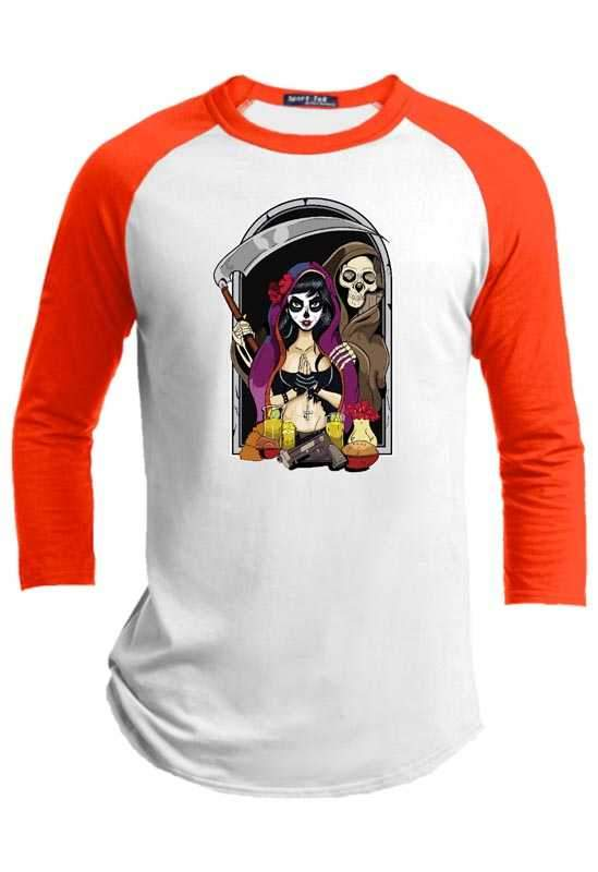 Catrina and Death Halloween Raglan