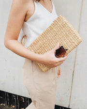 Hand woven water hyacinth clutch, summer bag, straw bag - Olive and Iris