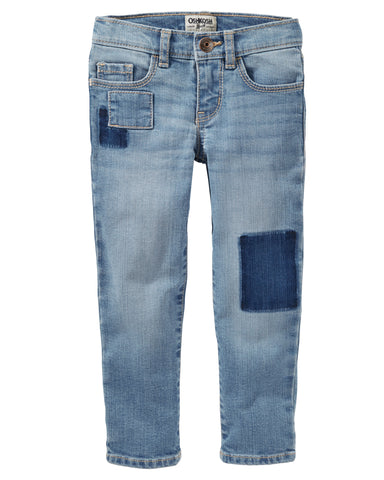 Skinny Patchwork Jeans - Nineties Wash