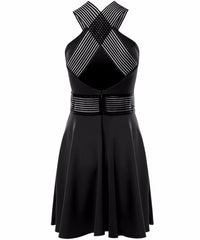 Classic - Celebrity Inspired -Lucy Mecklenburgh Mesh Skater Dress - Black