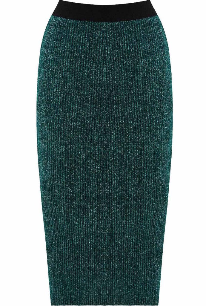 Emerald - Teal Sparkly Pencil Skirt