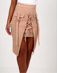 Lace Me Up - Stone Lace Up Eyelet Skirt With Pockets -