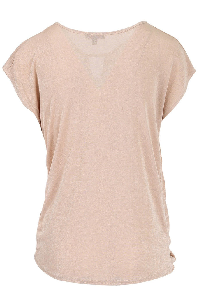 Stone/Beige Knotted Twist Front Slinky Crepe Sleeveless Top