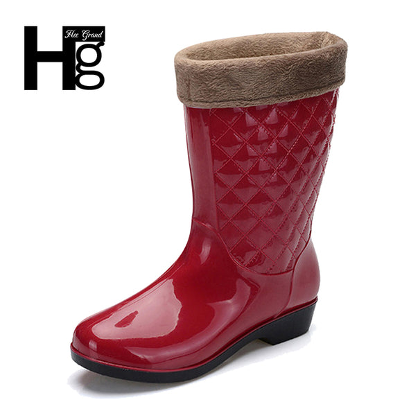 Women Rain Boots Winter Mid-calf Heel Height Increasing Slip On Waterproof