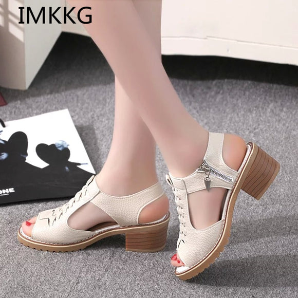 New Vintage Elegant Women's Sandals Summer Style Mid Square Heel Shoes