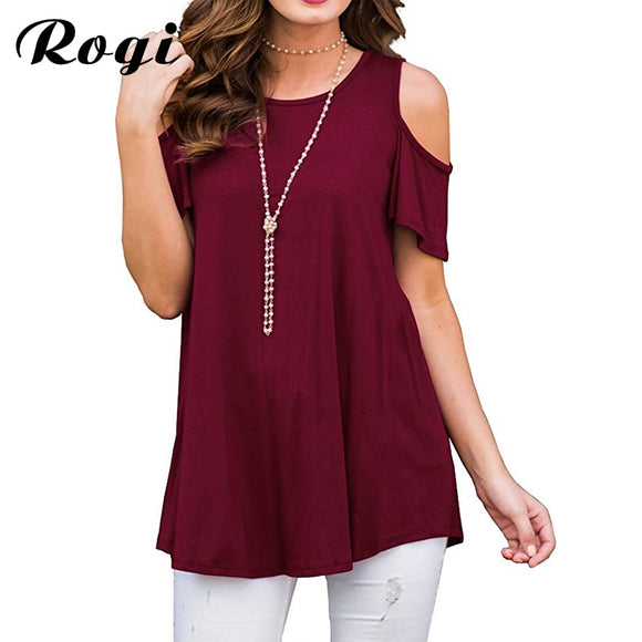 Casual Short Sleeve Summer Shirt Women Sexy Cold Shoulder Top Tee Loose Blouse