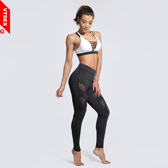 Black Mesh Yoga Leggings Plus Size Breathable Fitness Sports Pants GYM Running Tights