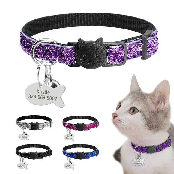Sequin Personalized Quick Release Kitten Cat ID Collar
