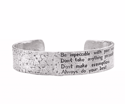 The Four Agreements Dome Cuff in Bronze