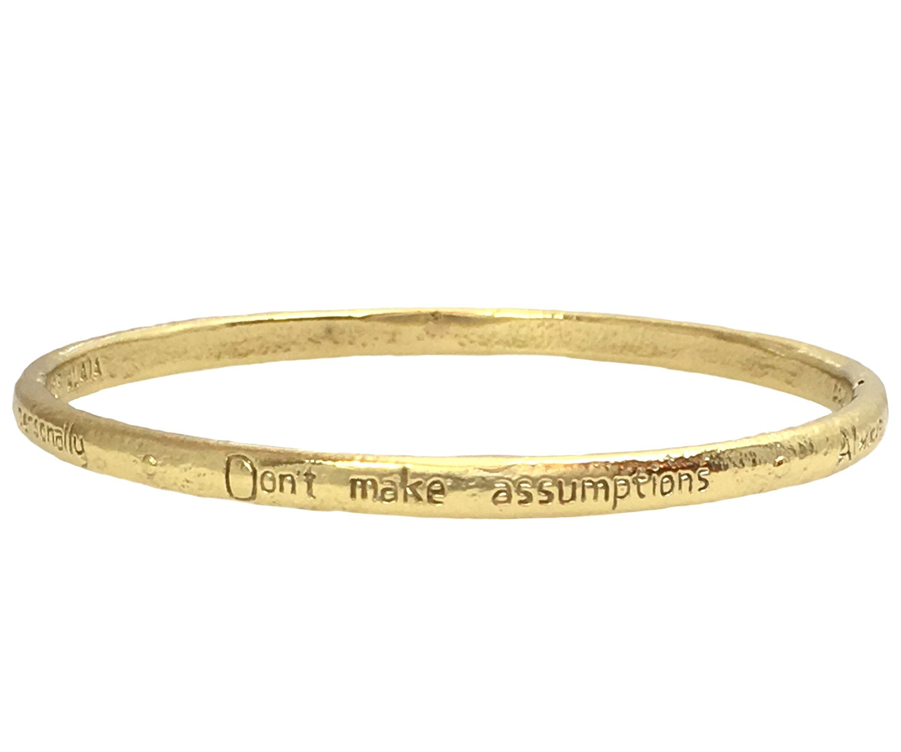 The Four Agreements Single Bangle in Brass | Handcrafted | Inspirational Jewelry | Jewelry Evolution8 | Made in Bali