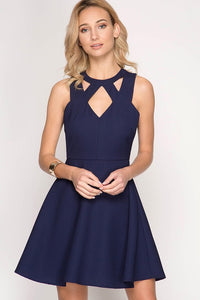 Navy Sleeveless Fit and Flare Dress