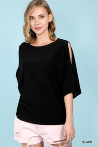 Black Top with Split 3/4 sleeves