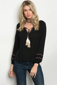 Black Vneck with Embroidered Accents