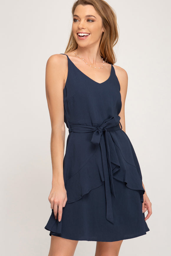 Ruffled Navy Dress