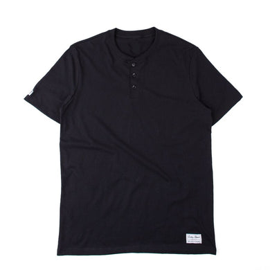 Blended Henley Button Up Black