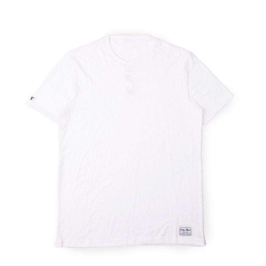 Blended Henley Button Up White