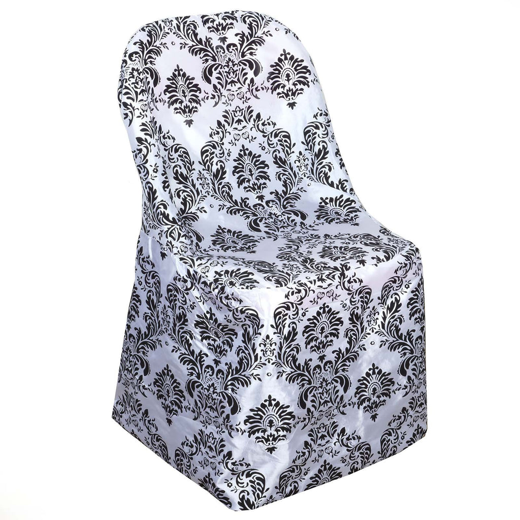 Wholesale Black/White Velvet Flocking Taffeta Chair Covers Party Wedding Event Decoration