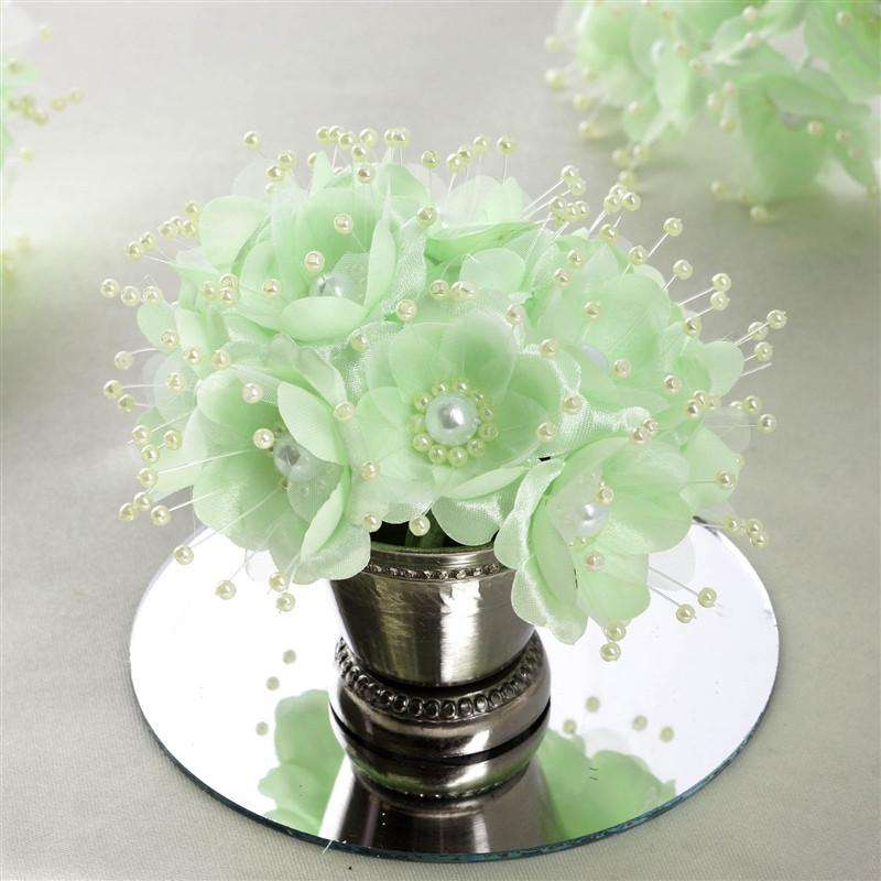 Faux Pearl Decor Flower Braids Corsage Boutineer Craft - Mint - 72/Pack