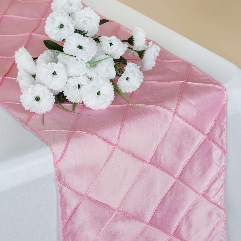 Table Runner Pintuck - Pink
