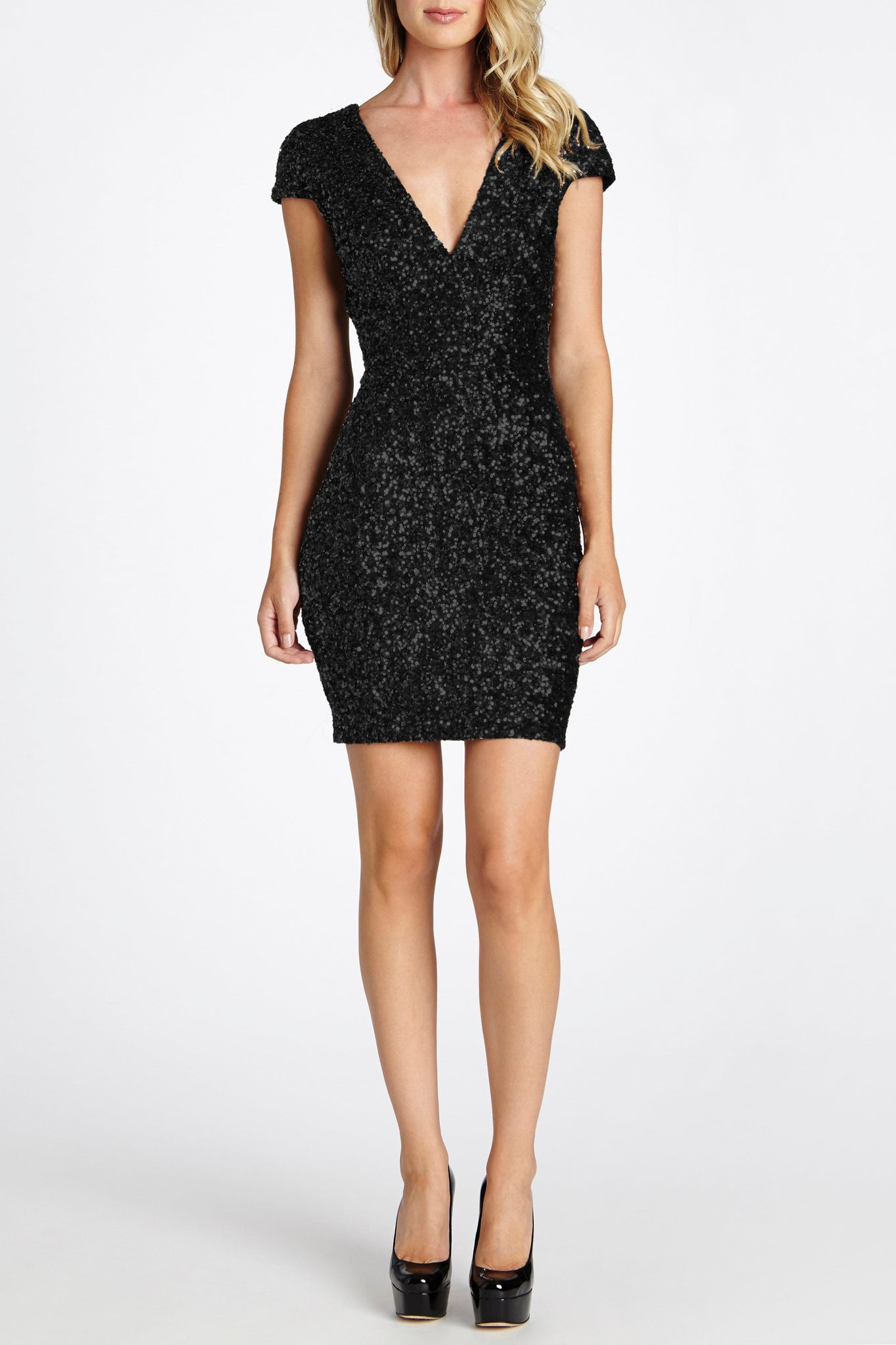 Zoe Cap Sleeve Plunging Body Con Mini Sequin Dress