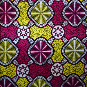 Julius Holland African Print Wax Block Fabric Sold by the yard 100% cotton Pink white yellow coloured fabric Ankara fabric African fashion Craft & Supplies by Dovetailed