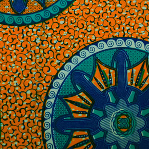 Julius Holland Wax Block Print  African print fabric shop Dutch wax Orange and Green coloured fabric Sold by the half yard / by the yard /wholesale (6 yards)100% cotton by Dovetailed