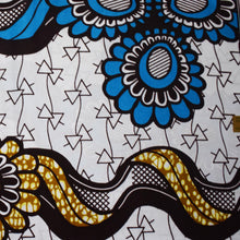 African Print Wax Block Fabric Sold by yard 100% cotton White brown blue print Ankara Patterned by Dovetailed