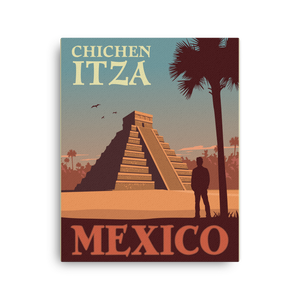 Chichen Itza Mexico | Vintage-Style Travel Poster | Canvas Print