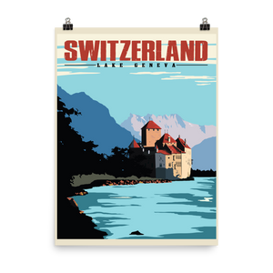 Switzerland | Lake Geneva | Vintage Travel Poster | Enhanced Matte Paper Print