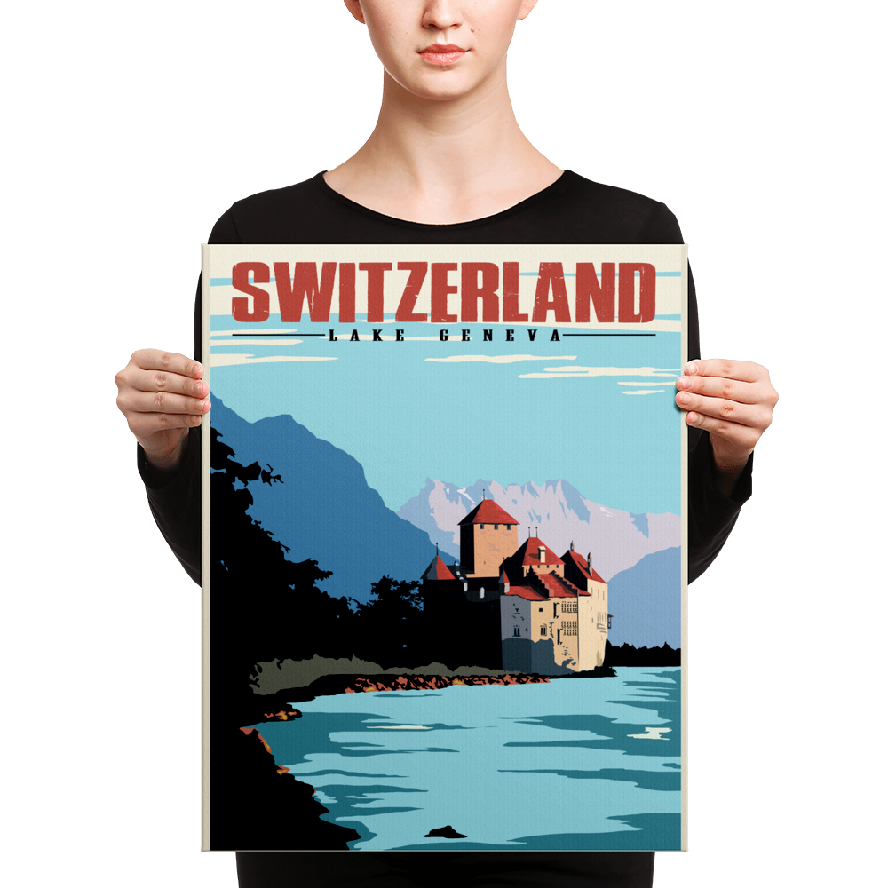 Switzerland | Lake Geneva | Vintage Travel Poster | Canvas Print