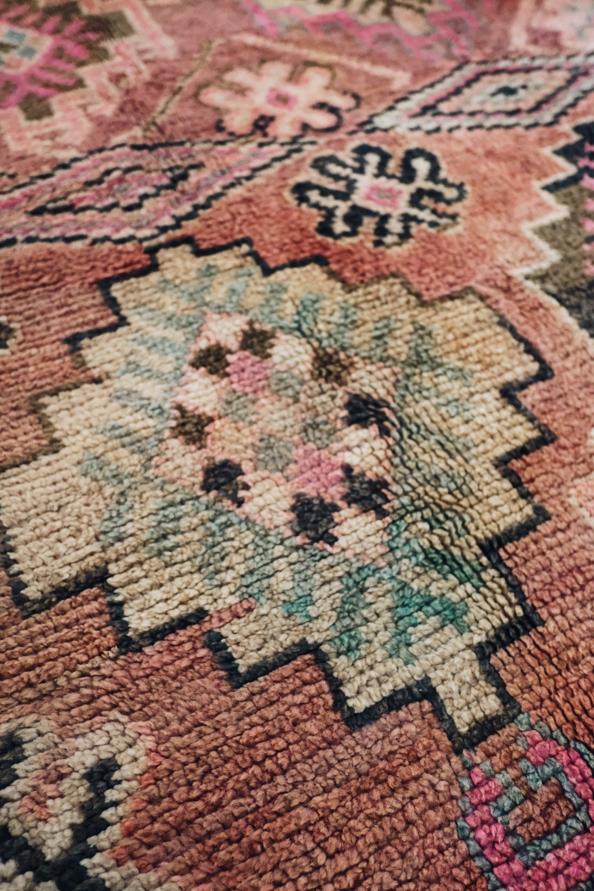 Karim Raspberry Purple Vintage One Of A Kind Boujad Moroccan Runner Rug - Lustere Living