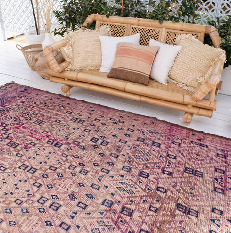 Maja Beni Mguild Raspberry Purple One Of A Kind Vintage Moroccan Rug - Lustere Living