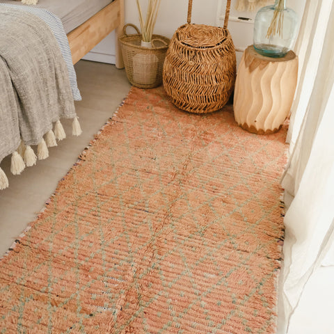 Lara Blush Faded Peach One Of A Kind Vintage Boujad Moroccan Runner Rug - Lustere Living