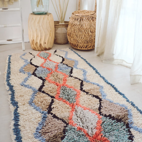 Nala Sky Blue Coral Vintage Moroccan Boujad Runner Rug 195x80cm - Lustere Living