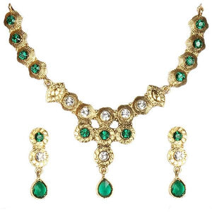 Tiptop Fashions  Green Austrian Stone Gold Plated Necklace Set  -  Imitation Jewellery - 1100523 - 11005
