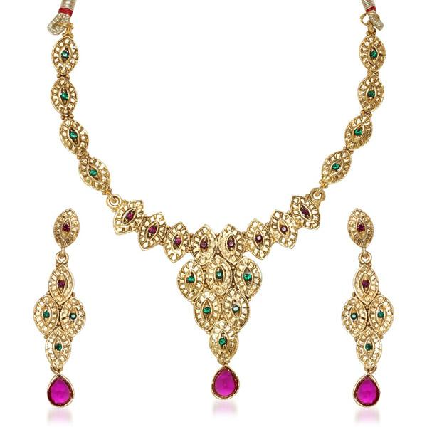 Tiptop Fashions  Purple Austrian Stone Gold Plated Necklace Set  -  Imitation Jewellery - 1100531 - 11005