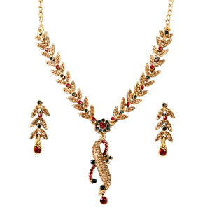 Tiptop Fashions  Green Austrian Stone Gold Plated Necklace Set - Tiptop Fashions
