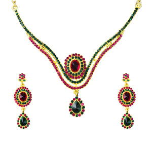Tiptop Fashions  Austrian Stone Drop Gold Plated Necklace Set - Tiptop Fashions
