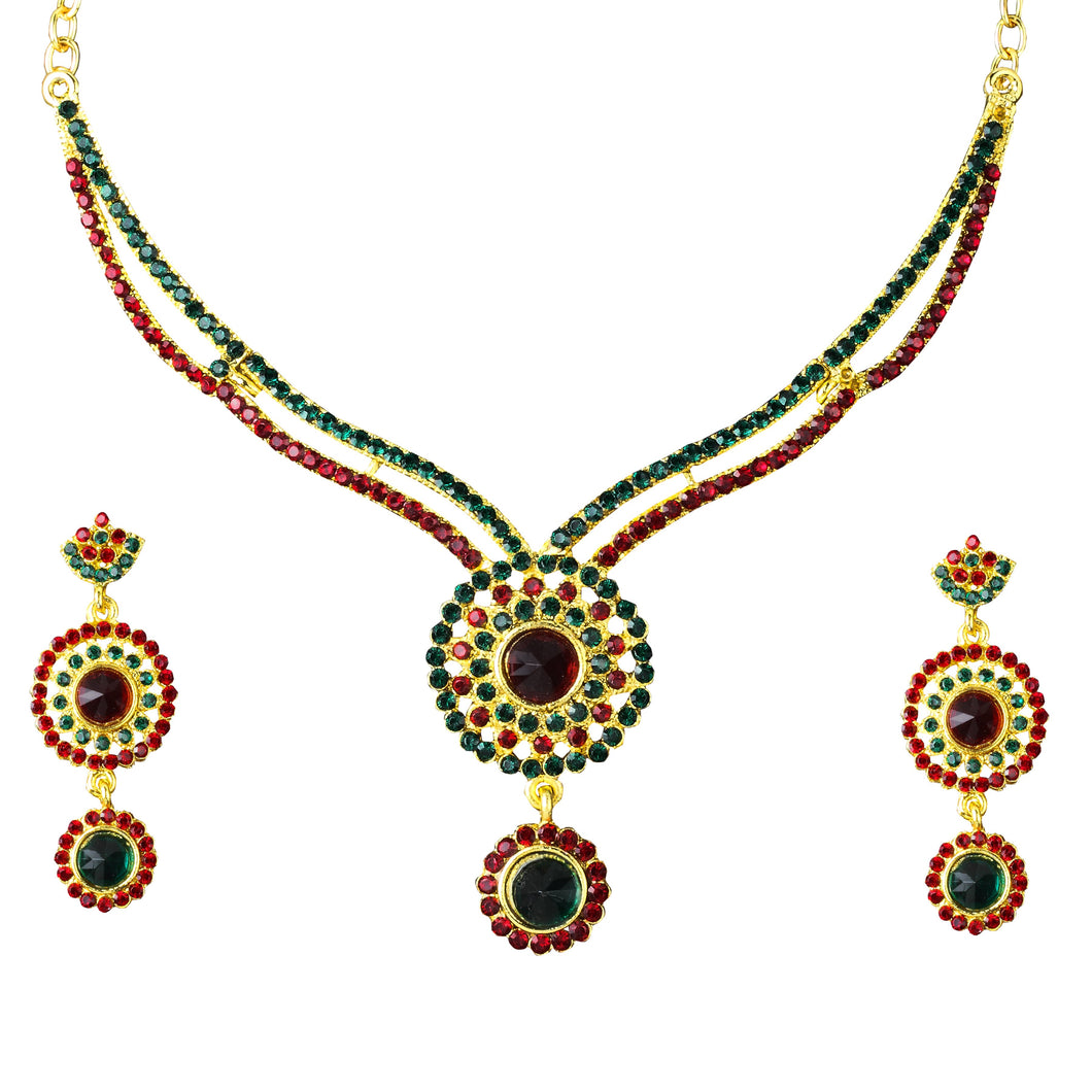 Tiptop Fashions  Austrian Stone Gold Plated Necklace Set - Tiptop Fashions